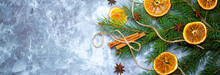 Festive Background For The New Year 2021. Christmas Tree On The Table With Dried Fruits And Spices, Background For New Year's Recipes. Elegant Card Decor For Christmas Greetings.