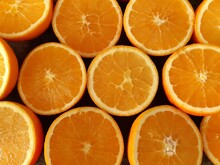 Half Oranges Are Ready To Squeeze Juice