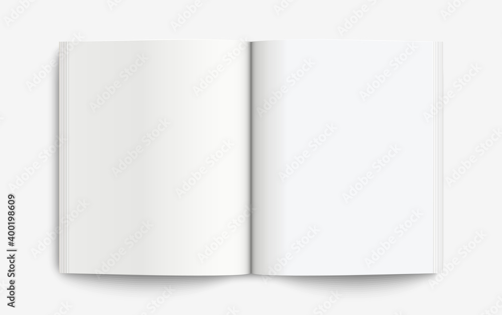 Fototapeta Realistic mockup book: Blank open book with shadows isolated on light background. Vector illustration EPS10
