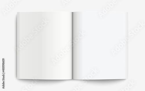 Fotografía Realistic mockup book: Blank open book with shadows isolated on light background