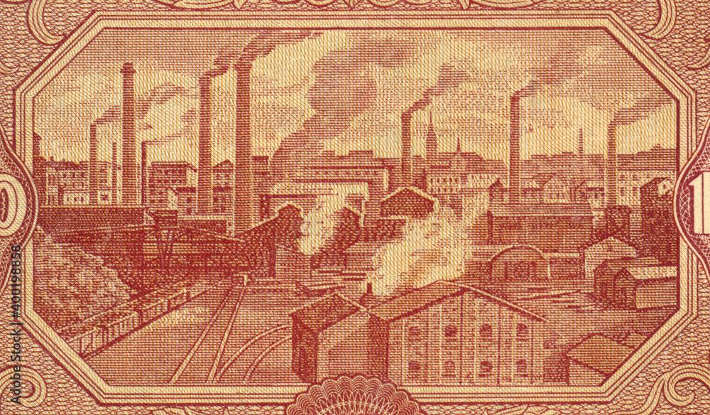 Fototapeta Przemysł - Panorama Łodzi na banknocie 1000 złotych z datą 15 stycznia 1946