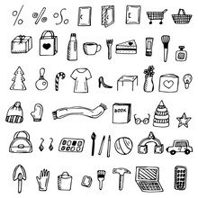 Web Icons Shopping, Vector Illustration, Doodles, Baskets And Various Products