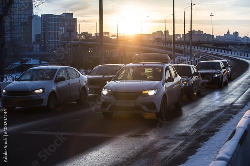 Cars moves in winter at road Fotobehang