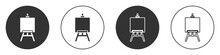 Black Wood Easel Or Painting Art Boards Icon Isolated On White Background. Circle Button. Vector Illustration.