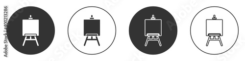 Fotografie, Tablou Black Wood easel or painting art boards icon isolated on white background