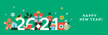 Happy New Year 2021 Flat Holiday Decoration Banner