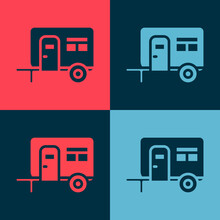 Pop Art Rv Camping Trailer Icon Isolated On Color Background. Travel Mobile Home, Caravan, Home Camper For Travel. Vector.