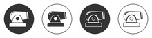 Black Cannon Icon Isolated On White Background. Circle Button. Vector.