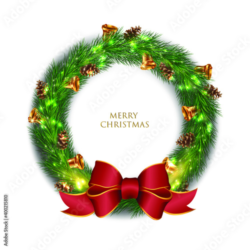 3d whreath with red ribbon on Merry Christmas Wallpaper Mural