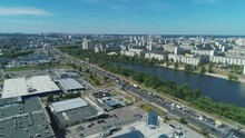 Aerial Drone Footage Of Traffic Jam Along Busy Bandery Avenue In Kyiv.