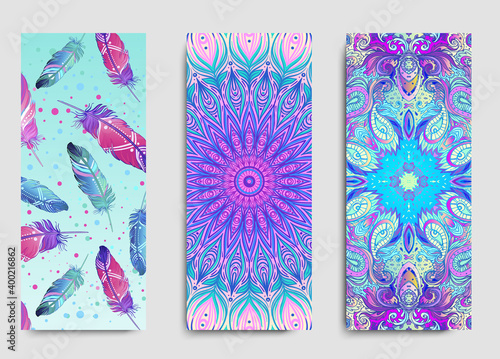 Obraz Yoga card, flyer, poster, mat design. Colorful template for spiritual retreat or yoga studio. Ornamental business cards, oriental pattern. Vector illustration - fototapety do salonu