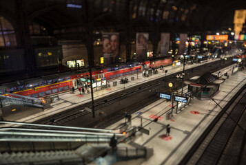 toy effect view of an urban railway station