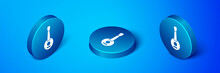 Isometric Banjo Icon Isolated On Blue Background. Musical Instrument. Blue Circle Button. Vector.