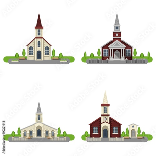 Obraz na plátně Church Decorative Flat Icon Set