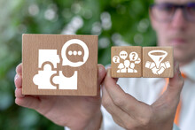 Business Concept Of Mediation. Mediator Show Wooden Blocks With Mediate Partnership Conceptual Strategy Icons.
