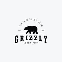 Bear Hunter Logo Vector Design Illustration Vintage, Grizzly Bear, Polar Bear, Black Bear