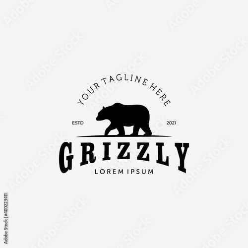 Fotografia Bear Hunter Logo Vector Design Illustration Vintage, Grizzly Bear, Polar Bear, B