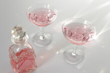 Pink Liquor With Reflection From The Sun