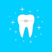White Tooth With Orthodontic Brace And Shining Effect Stars Illustration Isolated On Blue Background