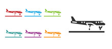Black Plane Icon Isolated On White Background. Flying Airplane Icon. Airliner Sign. Set Icons Colorful. Vector.