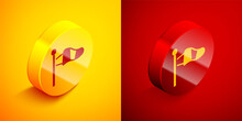 Isometric Cone Meteorology Windsock Wind Vane Icon Isolated On Orange And Red Background. Windsock Indicate The Direction And Strength Of The Wind. Circle Button. Vector.