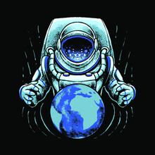 Astronaut With Earth Vector Illustration