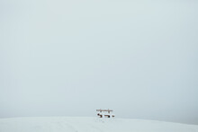 Winter Landscape Mountain. Snow Mountain With Wooden Bench. Winter Landscape