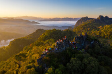 Aerial View Of Beautiful Morning Scene Of Mountain Range In Bang Cha Po Or Ban Cha Bo Village Gi In Pang Ma Pha District In Mae Hong Son, Thailand