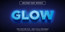 Editable Text Effect In Glowing Neon Blue Style