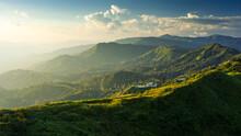 Beautiful Mountain Landscape With Sunlight.