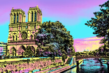 Seine River And Facade Of Gothic Notre-Dame Cathedral In Paris. The French Capital Known As The City Of Light. Blacklight Poster Filter.