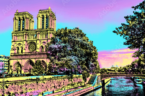 Fotografija Seine River and facade of gothic Notre-Dame Cathedral in Paris