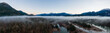 canvas print picture - Aerial Panoramic Canadian Nature Landscape with mountains in background. Sunny Sunrise Sky. Taken in Squamish, North of Vancouver, British Columbia, Canada.