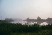 Fog Over The Lake In Rural Courland, Latvia