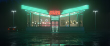 Neon Diner And Retro Car Late At Night. Fog, Rain And Colour Reflections On Asphalt. 3d Illustration