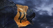 Retro Flag Of Barbados  With Grunge Texture Waving In The Wind. 3d Illustration