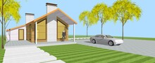 Traditional Modern House Sketch 3d Illustration