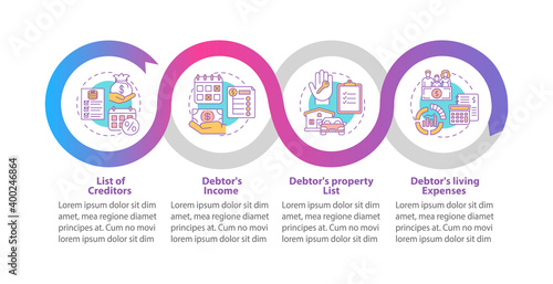 Tableau sur Toile Creditor and debtor contract vector infographic template