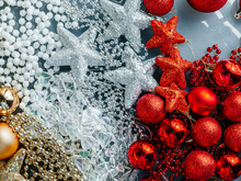 Festive Decoration. Christmas Decoration. Snow Globes And Golden Stars Christmas Composition.