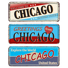 Chicago City. Retro Souvenirs Or Old Templates On Rust Background