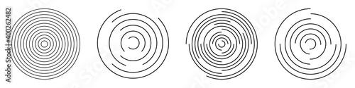 Fotografija Set of abstract linear circles. Decorative vector elements.