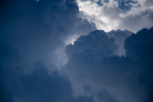Dramatic Cloudscape. Sky Background With Gray Clouds