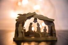 Nativity Scene On Wooden Background