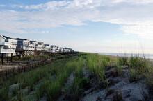 USA, Delaware, Bethany Beach, Beach Houses Along Sand Dune