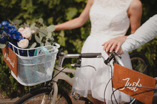 """Bride With A Bicycle And A Sign """"married"""""""