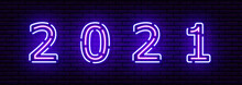 Neon Numbers Made Of Dotted Lines, With Shadow. Each Element Is Isolated. Against A Brick Wall. For Your Design, Signage, Billboards. Purple And Blue Colors. Inscription 2021