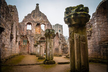 Ruins Of Fountains Abbey, Old Monastery In North Yorkshire, United Kingdom