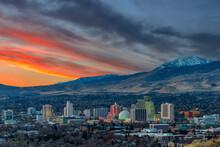 Reno, Nevada At Dawn