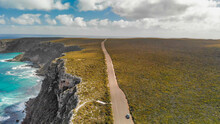 Flinders Chase National Park In Kangaroo Island. Amazing Aerial View Of Road And Coastline From Drone On A Sunny Day