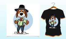 A Western Dog Thumbs Up Vector T-shirt Design, Dog T Shirt Vector Graphics To Download